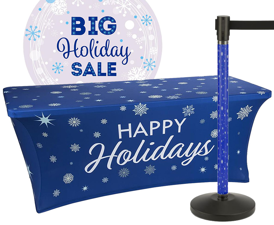 blue holiday themed marketing displays