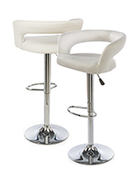 White Leather Bar Stool is Cushioned