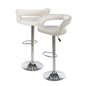 White Leather Bar Stool Made with Faux-Leather