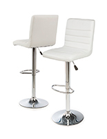 Adjustable Height Bar Stool, White Faux Leather