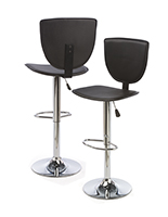 High Back Bar Stool, PVC & Chromed Metal