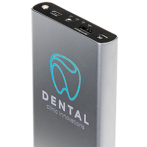 Silver branded promotional power bank with custom printed logo