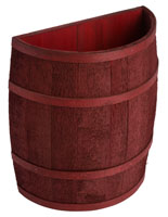 Rustic Cranberry Stained Half Barrel