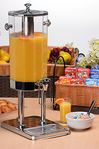 Continental breakfast with juice dispenser