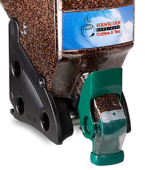 Closeup of gravity dispenser filled with coffee beans