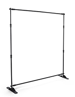 Step and repeat banner frame expandable from 3' to 8' high and 4' to 10' wide