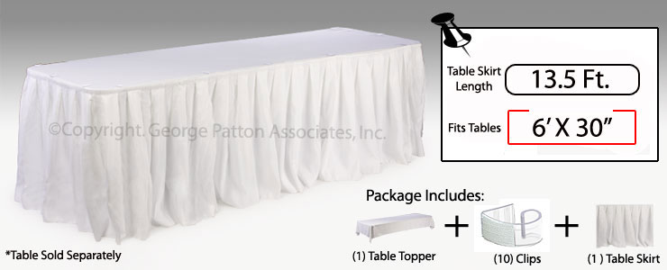 White Table Cloths | Skirts & Clips for Six Foot Table Cover