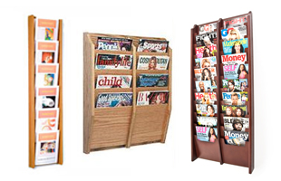 Wooden Wall Magazine Racks with Solid and Clear Pockets