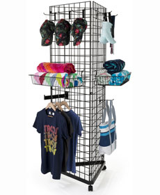 Wire grid merchandising displays