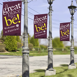 pre-printed customizable themed street pole banners