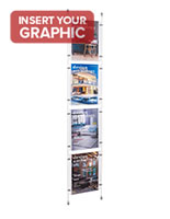 Slide in cable suspension system for signage