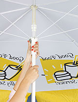 Use these cafe umbrellas to provide shade for your patio dining.