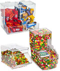 These candy dispensers are scoop bins suitable for any type of bulk candies.
