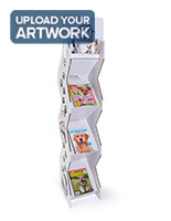 Corrugated magazine leaflet floor stand with literature pockets on both sides