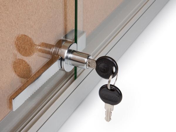 5 39 x 3 39 enclosed notice board sliding glass door custom header. Black Bedroom Furniture Sets. Home Design Ideas