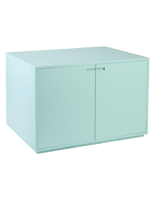 Hinged door retail store display cabinet table