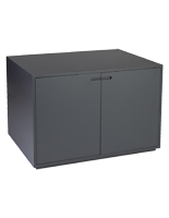 Magnetic door closure retail storage cabinet display table