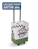 Cardboard trade show storage trolley with bright color graphics