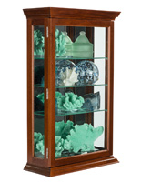 Dark Cherry Mirrored Display Case for Countertop or Wall Mount