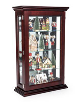 Dark Cherry Mirrored Display Propped with Christmas Decorations