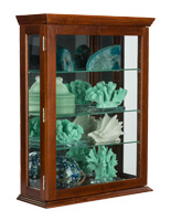 Countertop or Wall Mount Economy Cherry Mirrored Curio Display