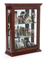 Economy Cherry Mirrored Curio Display Shown with Nutrackers on the Shelves