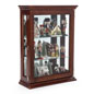 Economy Cherry Mirrored Curio Display Shown with Gingerbread Houses on Shelves