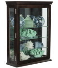 Affordable Espresso Curio Cabinet with Temepered Glass Panels