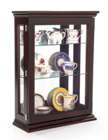 Affordable Espresso Curio Cabinet Shown with Glassware