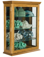 Economical Oak Curio Cabinet with Tempered Glass Panels