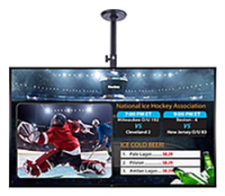 Hockey on a ceiling mounted digital monitor