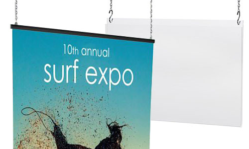 Ceiling mounted poster frames for retail advertising
