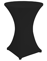 Bar height spandex table cover with leg pockets that guard against tears