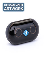 Black promo branded wireless earbuds with 5 hour talk and music time
