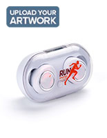 White custom logo branded earbuds with on and off button