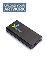Black high capacity logo power bank for backup battery charge