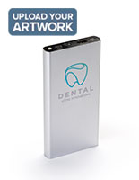 Silver branded power bank with full color customizable messaging