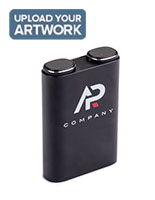 Black power bank with earbuds gift set with full color custom printing