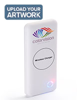 White branded wireless charger bank with custom color logo printing