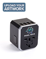 Black promotional universal travel adapter with 4 USB ports