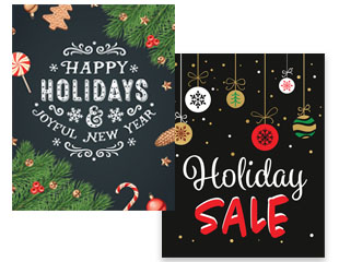 chalkboard themed holiday marketing signage and poster multipacks