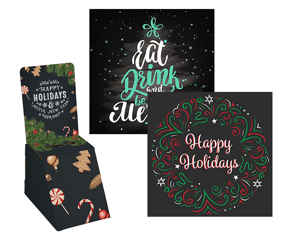 chalkboard themed holiday marketing signage and displays