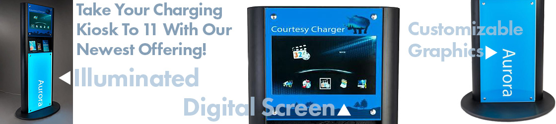 Illuminated charging tower with digital LCD screen