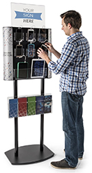 floor standing pamphlet display with charging cords
