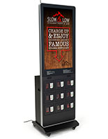 Locking cell phone charging kiosk with 9 locking portals