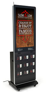 Digital kiosk charging locker with digital display and individual locking portals