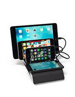 Plastic 4 port USB charger dock with wireless pad