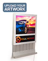 Upload your custom artwork to our  wall mount light box charging station
