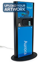Black advertising charging kiosk with custom graphics