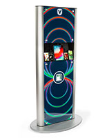 Silver power tower charging station with advertising graphic and UV digital printing